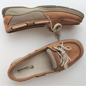Girls Sperry Laguna Beige Leather Boat Shoes Sz 2